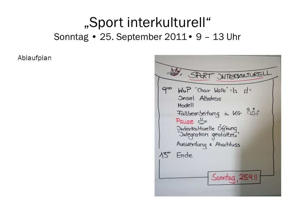 """Sport interkulturell Sonntag • 25. September 2011• 9 – 13 Uhr"