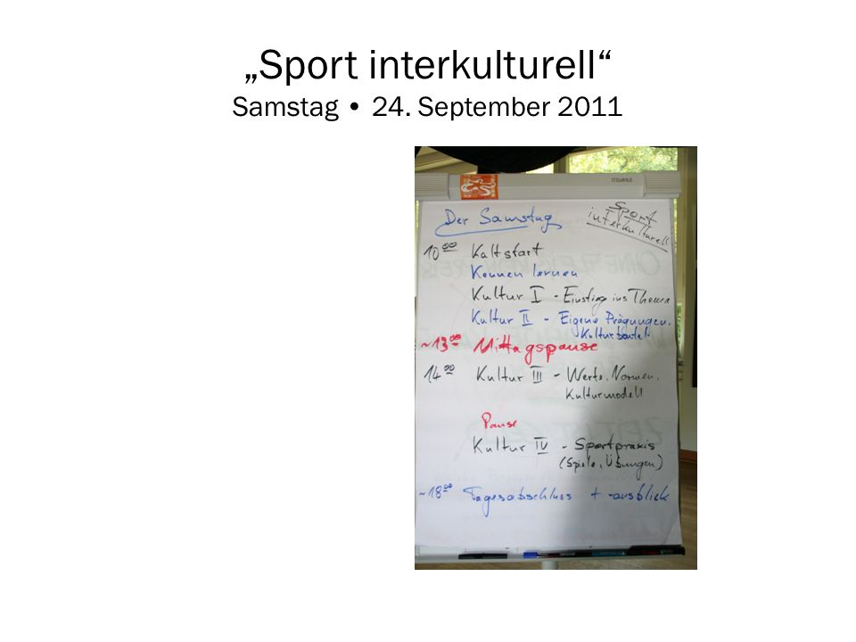 """Sport interkulturell Samstag • 24. September 2011"