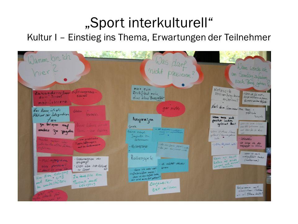 """""""Sport interkulturell Kultur I – Einstieg ins Thema, Erwartungen der Teilnehmer"""