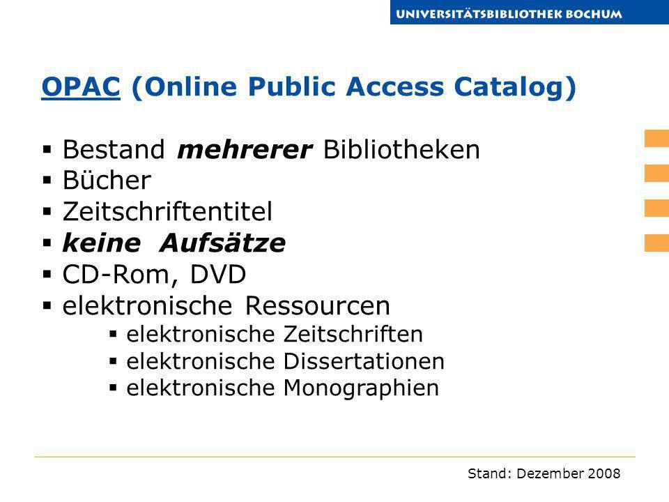 OPAC (Online Public Access Catalog) Bestand mehrerer Bibliotheken