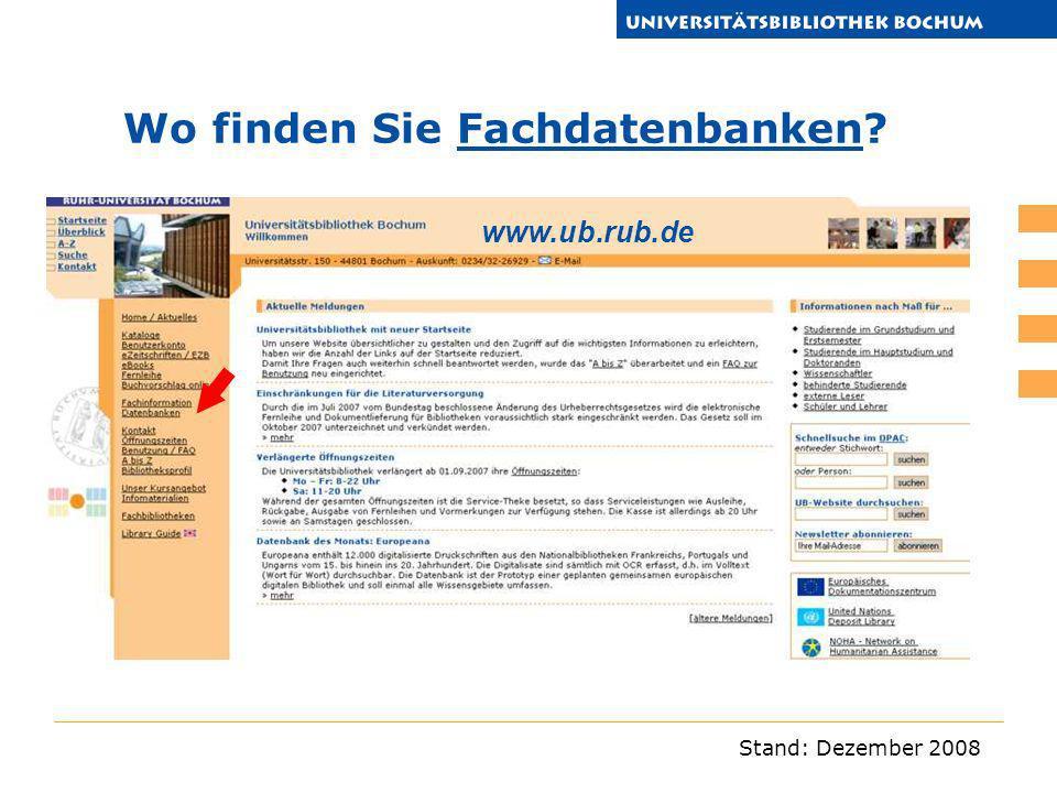 Wo finden Sie Fachdatenbanken