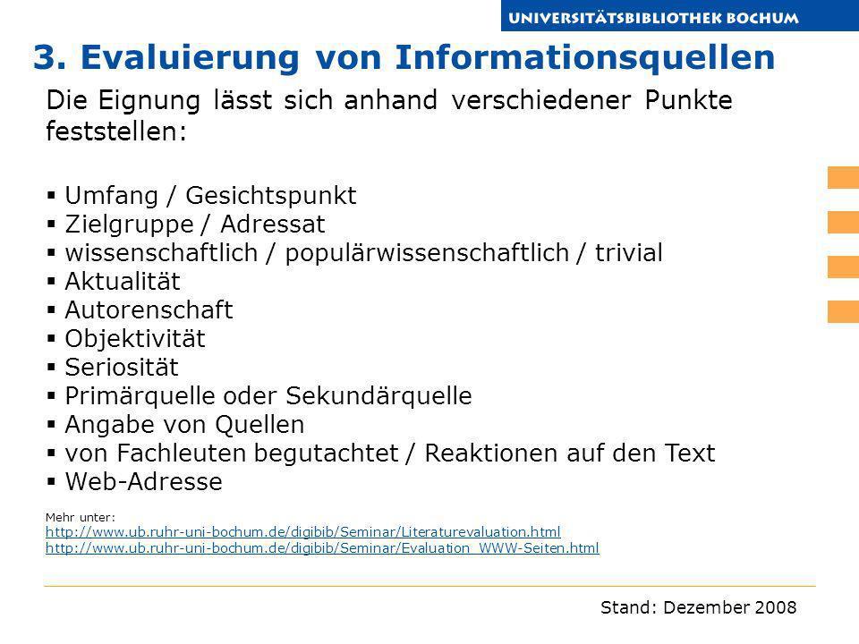 3. Evaluierung von Informationsquellen