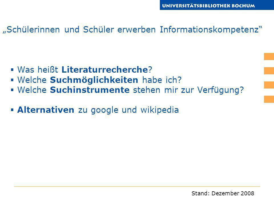 """""""Schülerinnen und Schüler erwerben Informationskompetenz"""