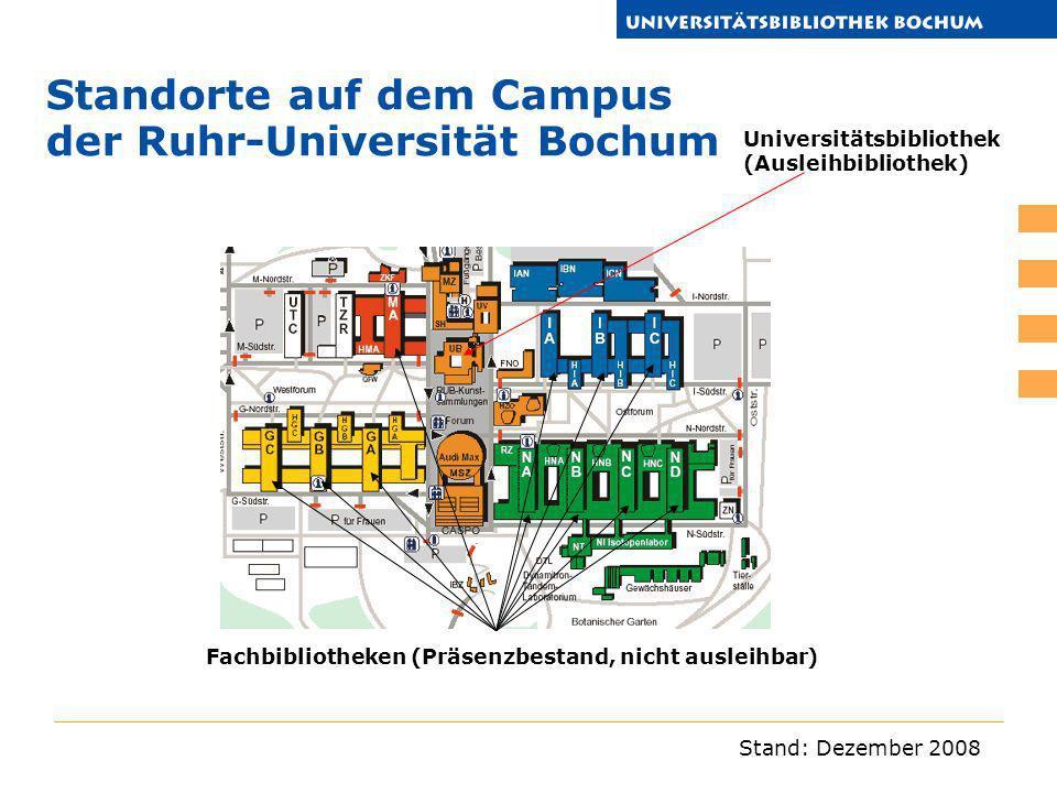 Standorte auf dem Campus der Ruhr-Universität Bochum