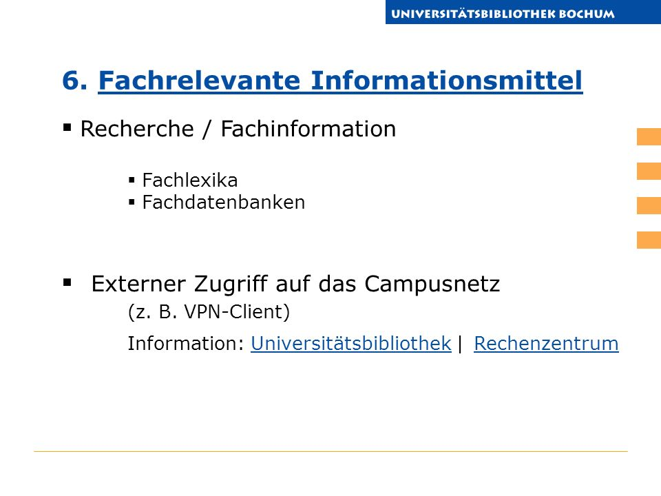 6. Fachrelevante Informationsmittel