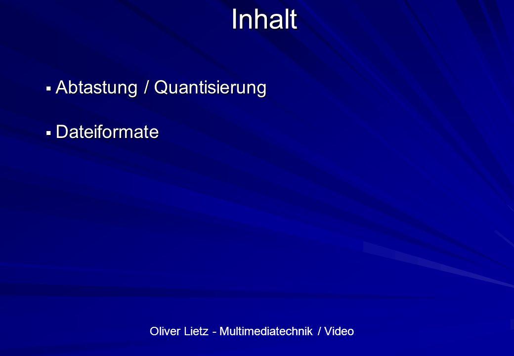 Inhalt Abtastung / Quantisierung Dateiformate
