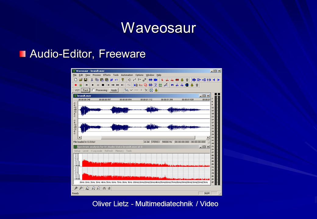 Waveosaur Audio-Editor, Freeware
