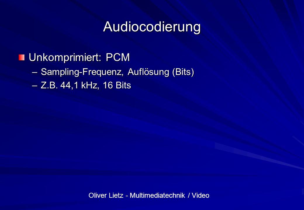 Audiocodierung Unkomprimiert: PCM Sampling-Frequenz, Auflösung (Bits)