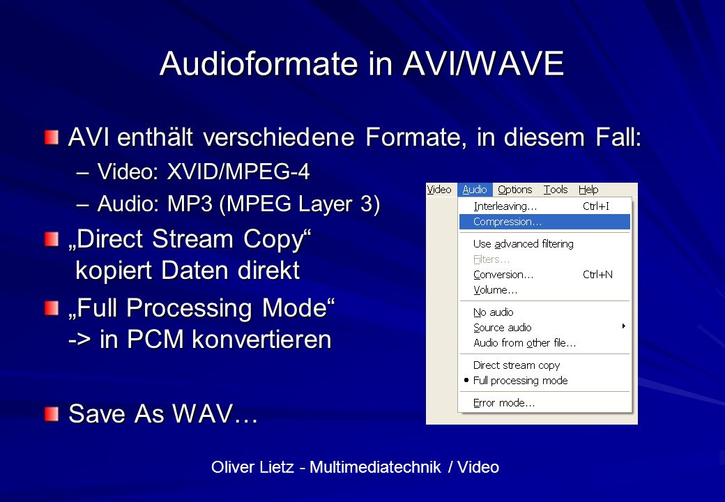 Audioformate in AVI/WAVE