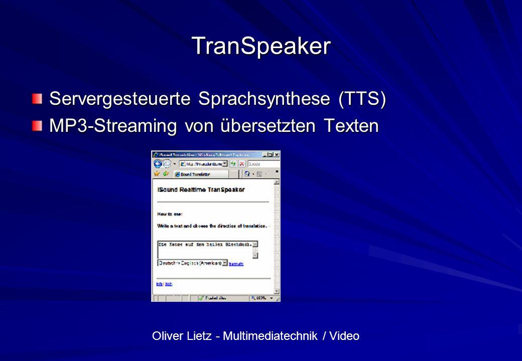 TranSpeaker Servergesteuerte Sprachsynthese (TTS)