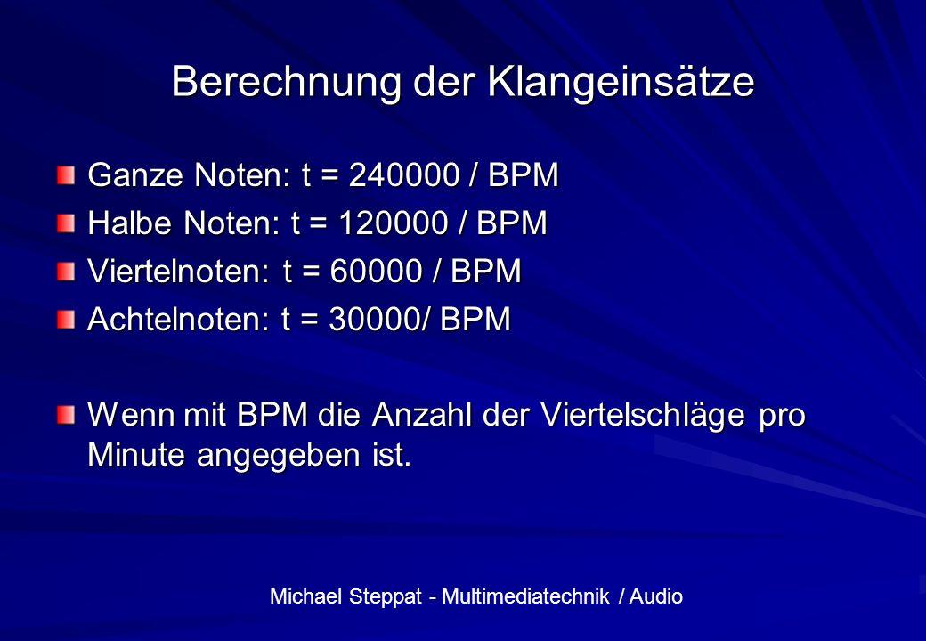 Berechnung der Klangeinsätze