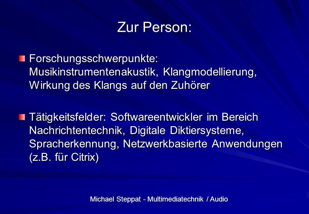 Zur Person: Forschungsschwerpunkte: Musikinstrumentenakustik, Klangmodellierung, Wirkung des Klangs auf den Zuhörer.