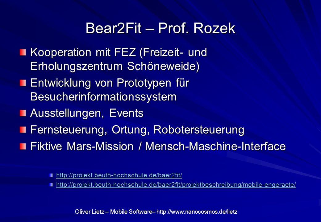 Bear2Fit – Prof. Rozek Kooperation mit FEZ (Freizeit- und Erholungszentrum Schöneweide) Entwicklung von Prototypen für Besucherinformationssystem.