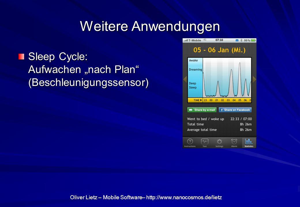 """Weitere Anwendungen Sleep Cycle: Aufwachen """"nach Plan (Beschleunigungssensor)"""