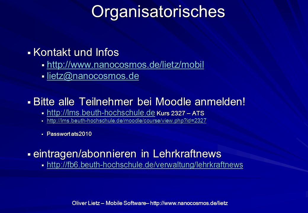 Organisatorisches Kontakt und Infos