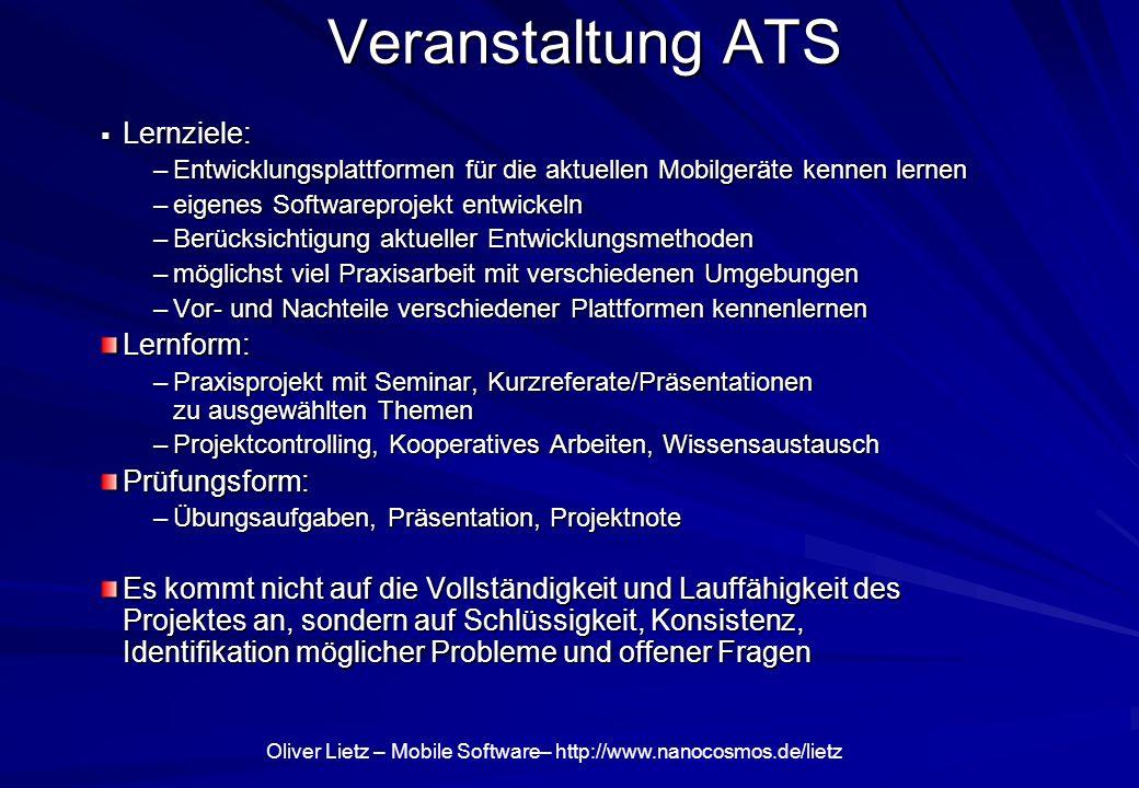 Veranstaltung ATS Lernziele: Lernform: Prüfungsform: