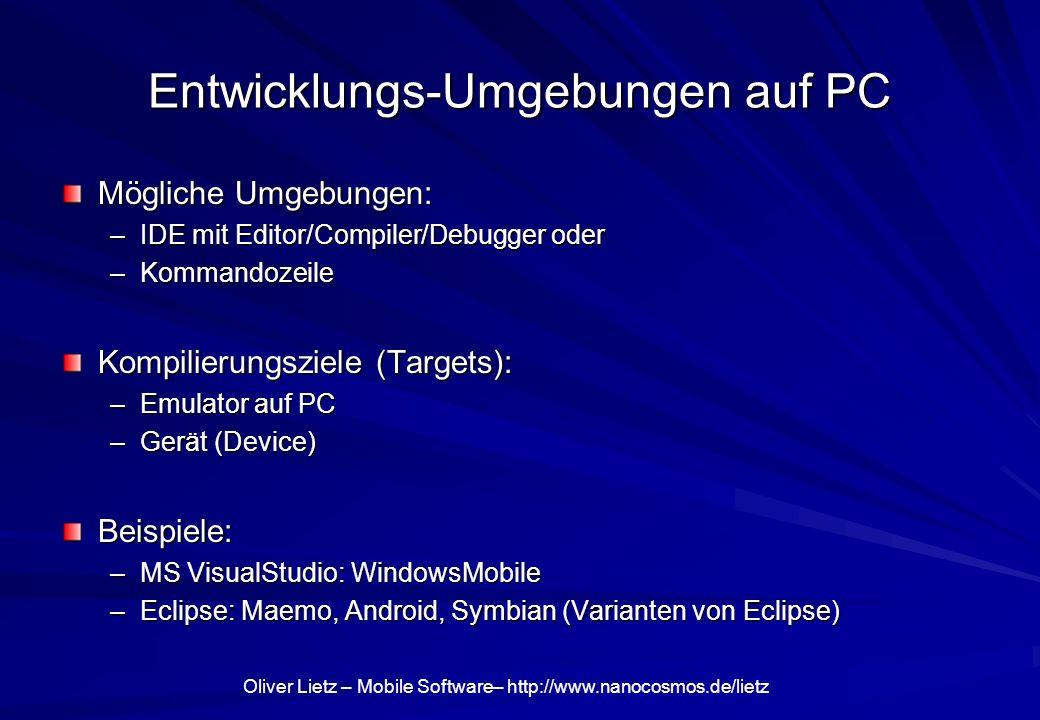 Entwicklungs-Umgebungen auf PC