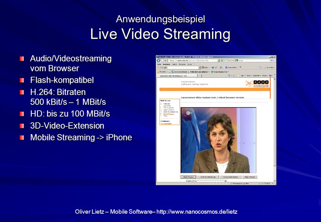 Anwendungsbeispiel Live Video Streaming