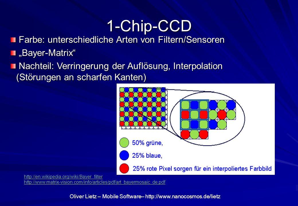 1-Chip-CCD Farbe: unterschiedliche Arten von Filtern/Sensoren