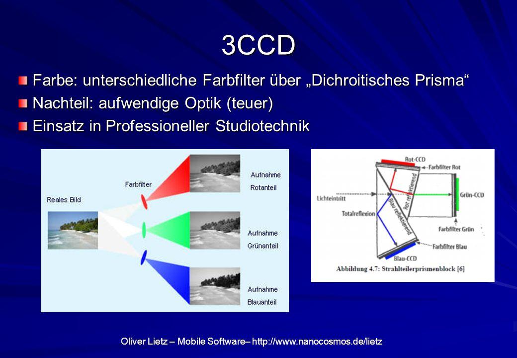 """3CCD Farbe: unterschiedliche Farbfilter über """"Dichroitisches Prisma"""