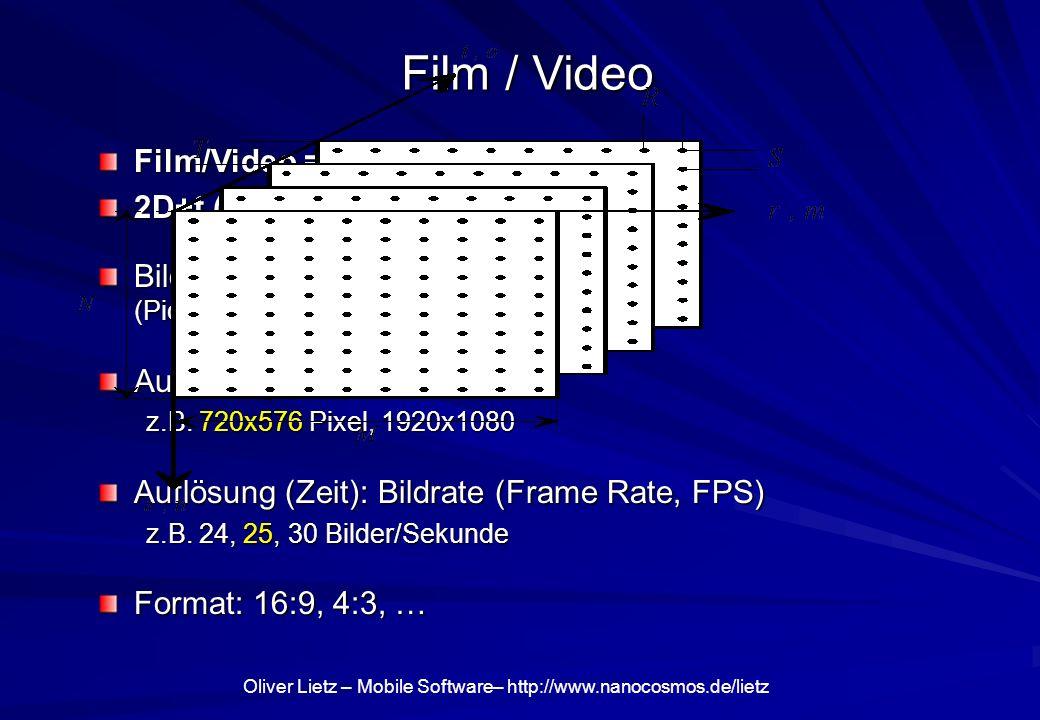 """Film / Video Film/Video = """"Bewegte Bilder 2D+t (Ort+Zeit)"""