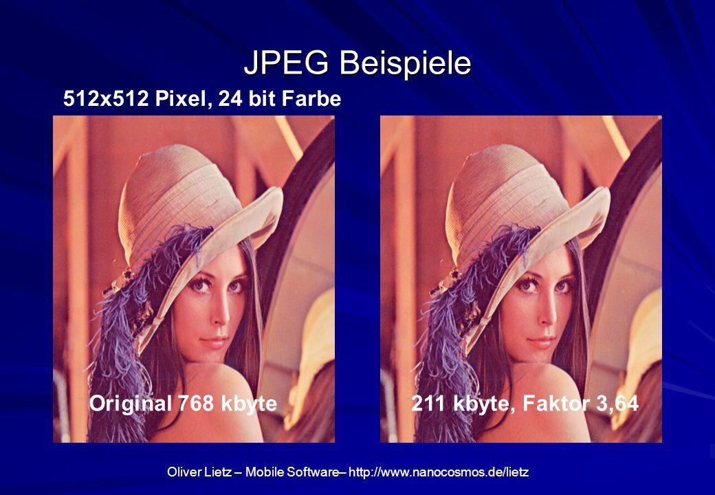 JPEG Beispiele 512x512 Pixel, 24 bit Farbe Original 768 kbyte