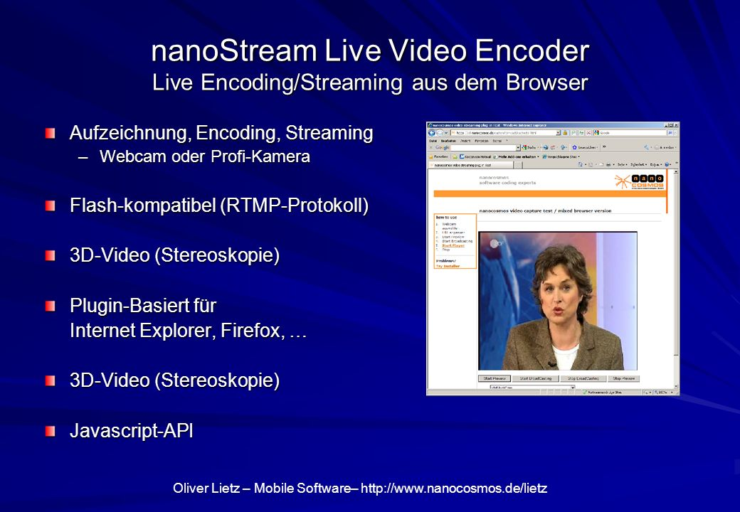 nanoStream Live Video Encoder Live Encoding/Streaming aus dem Browser