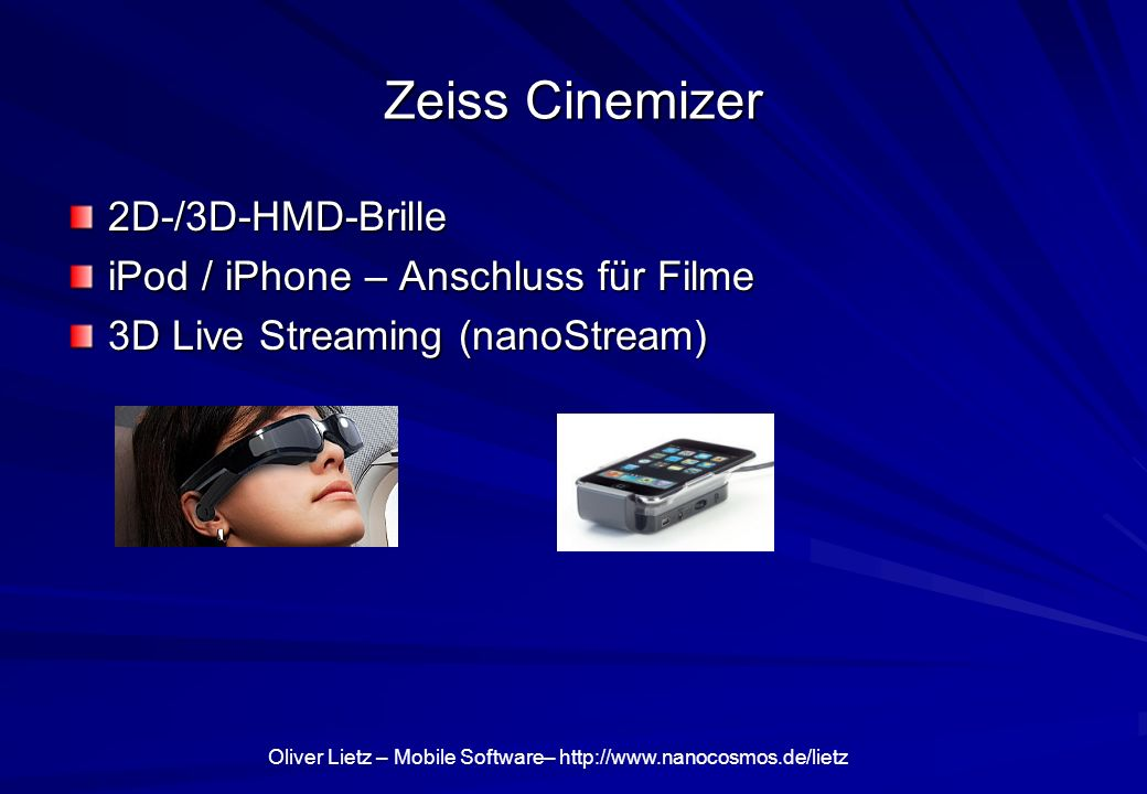 Zeiss Cinemizer 2D-/3D-HMD-Brille iPod / iPhone – Anschluss für Filme
