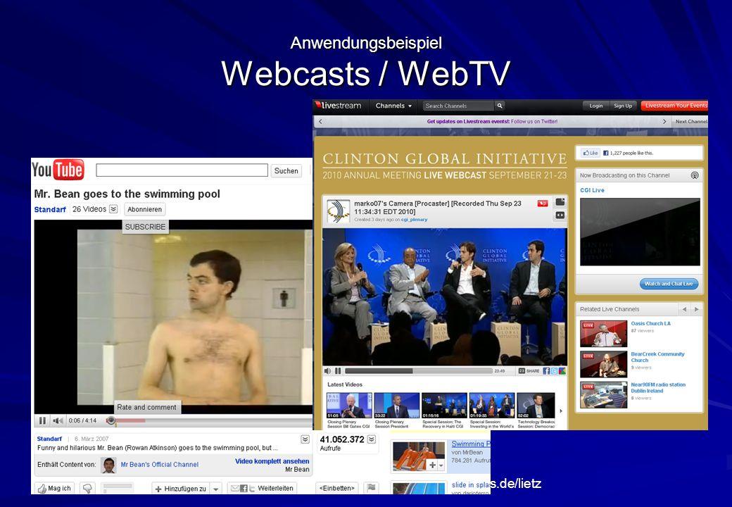 Anwendungsbeispiel Webcasts / WebTV