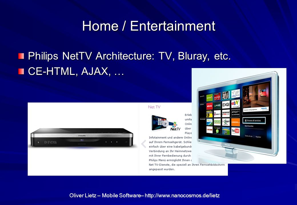 Home / Entertainment Philips NetTV Architecture: TV, Bluray, etc.