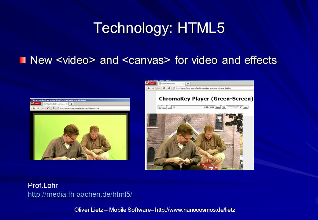 Technology: HTML5 New <video> and <canvas> for video and effects.