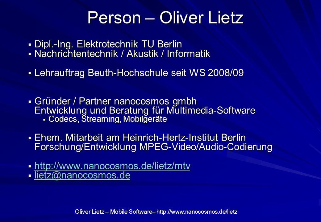 Person – Oliver Lietz Dipl.-Ing. Elektrotechnik TU Berlin