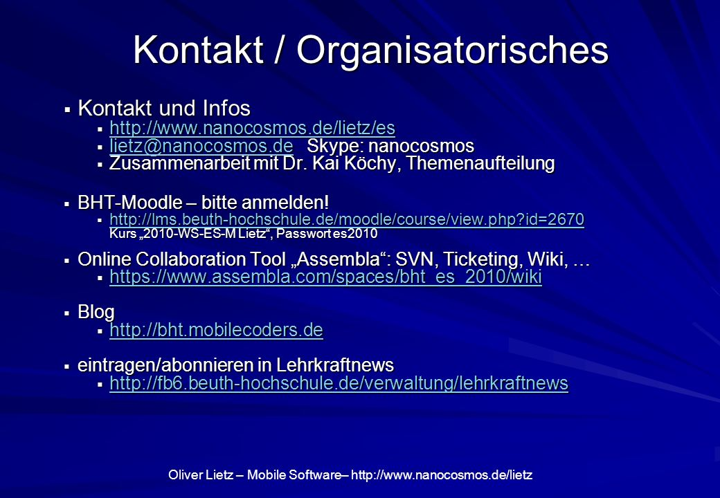 Kontakt / Organisatorisches