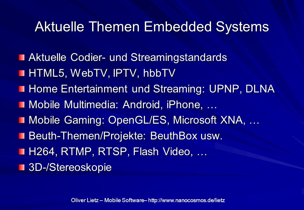 Aktuelle Themen Embedded Systems