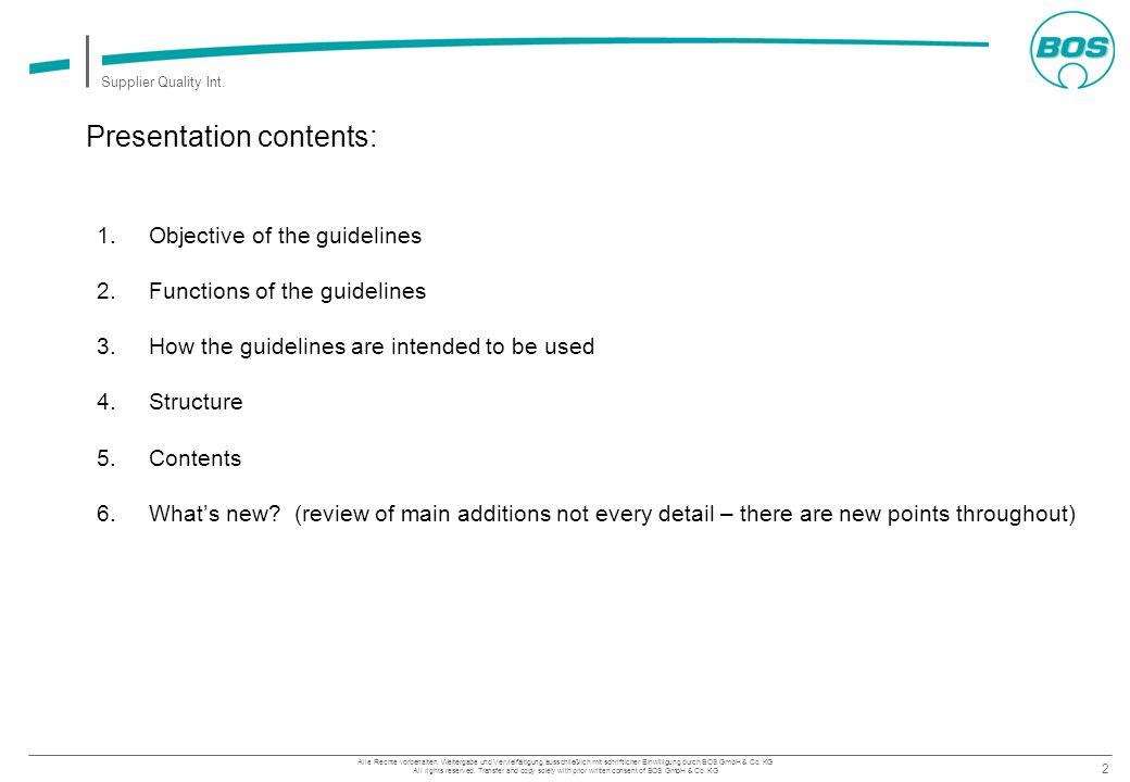 Presentation contents: