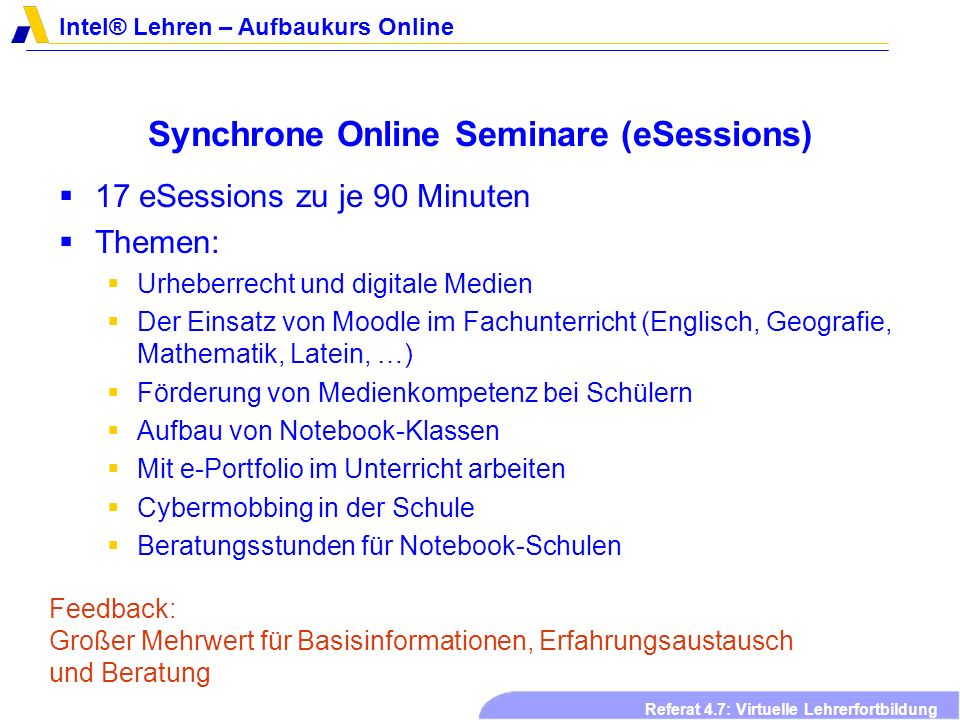 Synchrone Online Seminare (eSessions)
