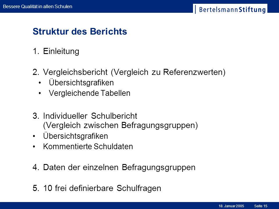 Struktur des Berichts Einleitung