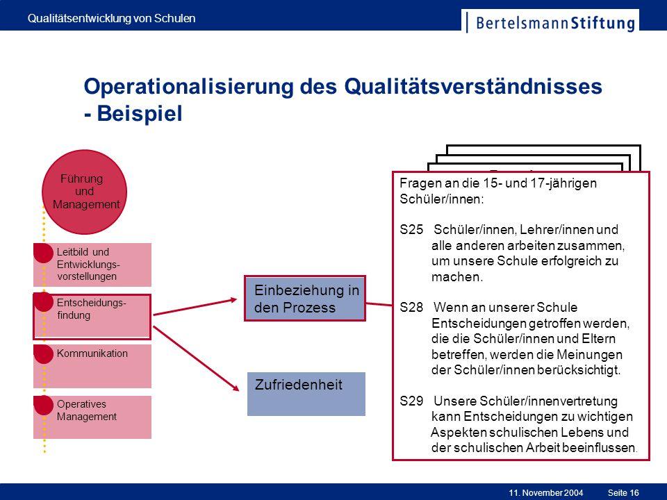 Operationalisierung des Qualitätsverständnisses - Beispiel