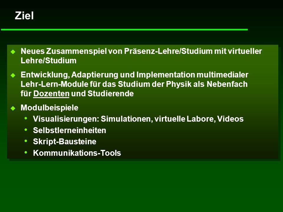 Ziel Neues Zusammenspiel von Präsenz-Lehre/Studium mit virtueller Lehre/Studium.