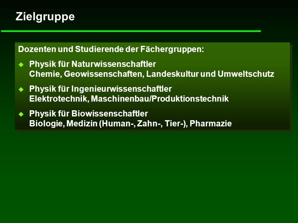 Zielgruppe Dozenten und Studierende der Fächergruppen: