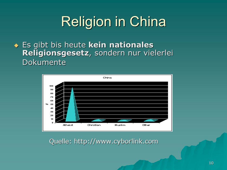 Religion in China Es gibt bis heute kein nationales Religionsgesetz, sondern nur vielerlei Dokumente.