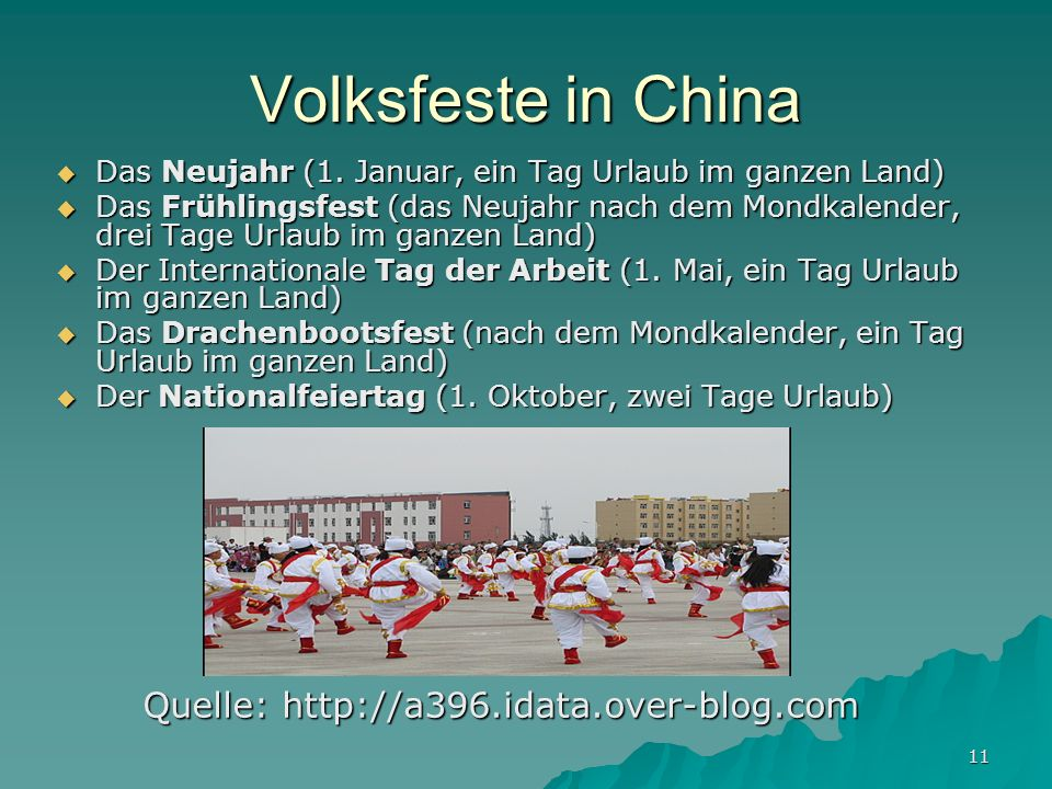 Volksfeste in China Quelle: