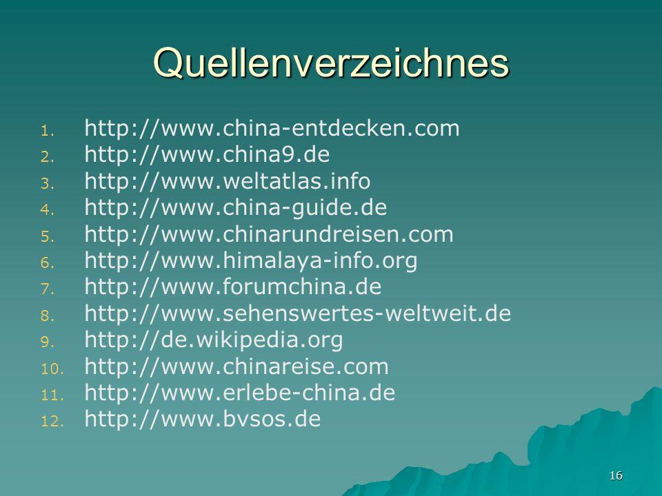 Quellenverzeichnes http://www.china-entdecken.com http://www.china9.de