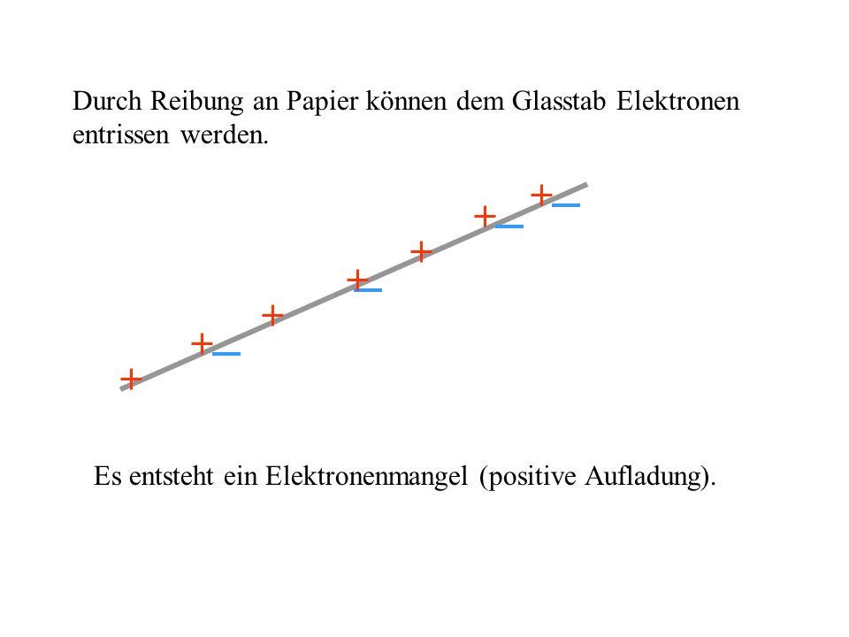 Durch Reibung an Papier können dem Glasstab Elektronen entrissen werden.
