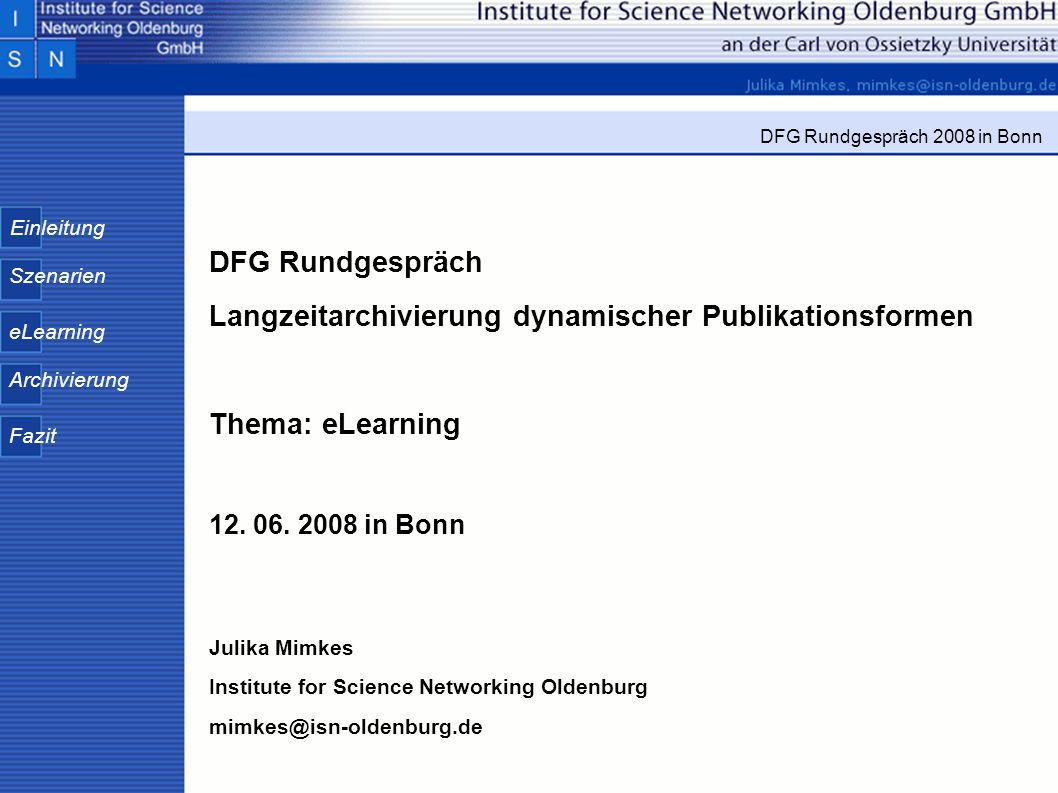 DFG Rundgespräch Langzeitarchivierung dynamischer Publikationsformen