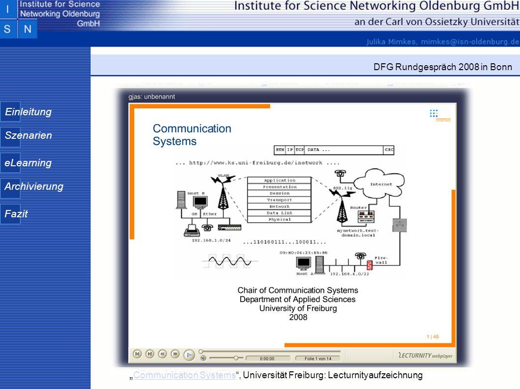 """""""Communication Systems , Universität Freiburg: Lecturnityaufzeichnung"""