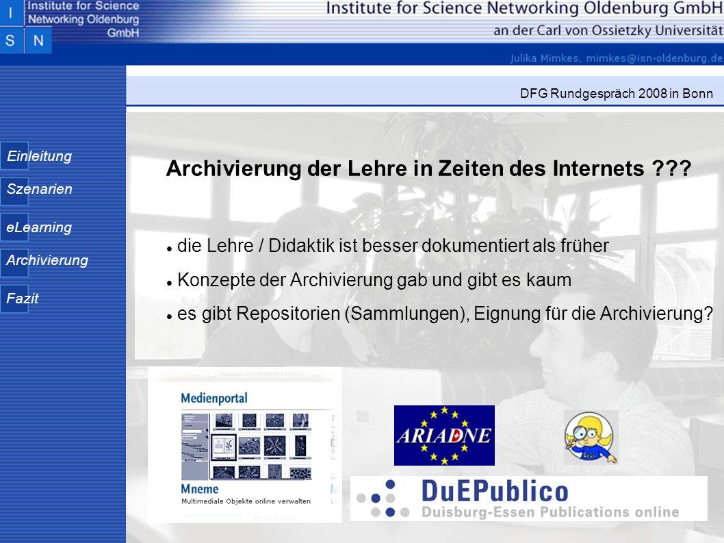 Archivierung der Lehre in Zeiten des Internets