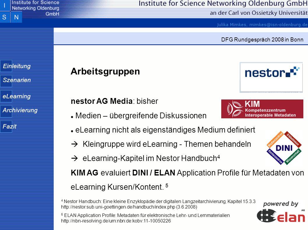 Arbeitsgruppen nestor AG Media: bisher