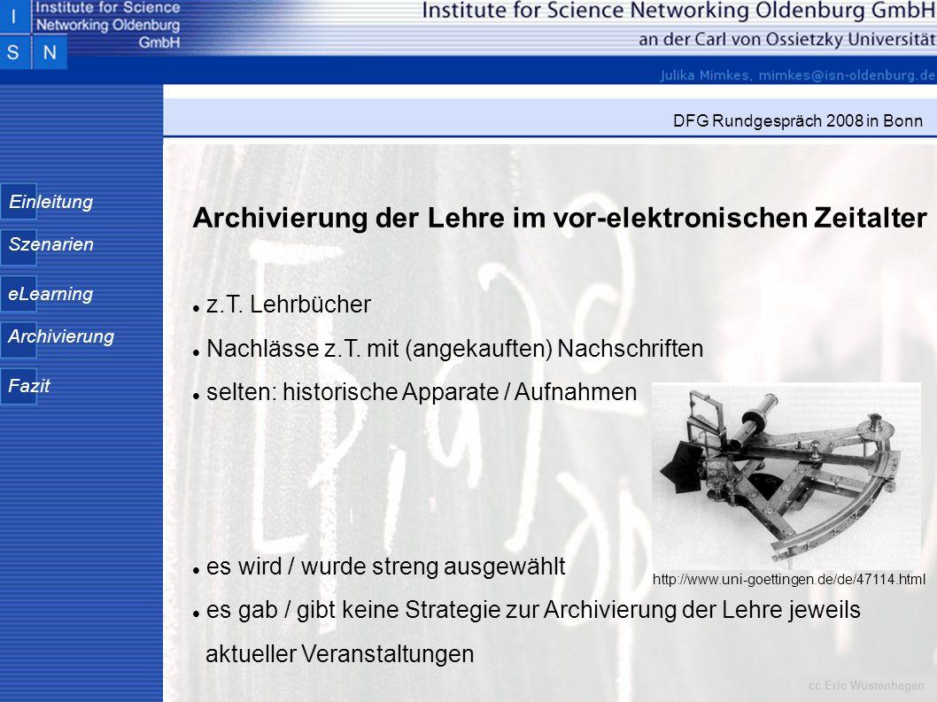 Archivierung der Lehre im vor-elektronischen Zeitalter