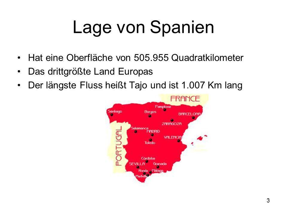 Lage von Spanien Hat eine Oberfläche von 505.955 Quadratkilometer